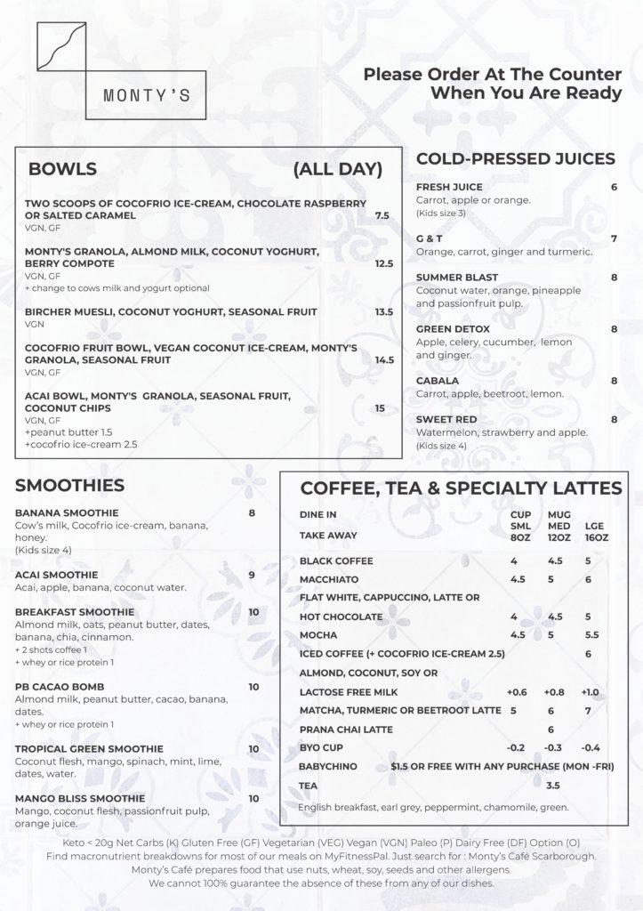 Monty A4 menu 1
