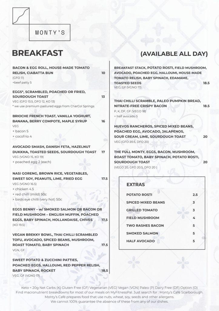 Monty A4 menu 2