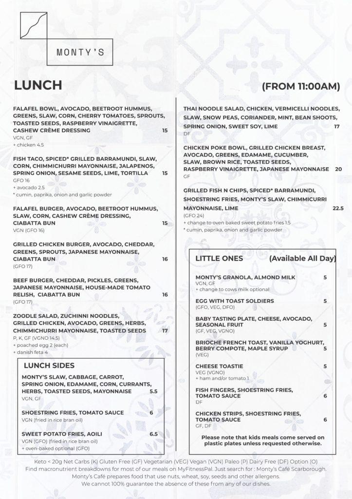 Monty A4 menu 3