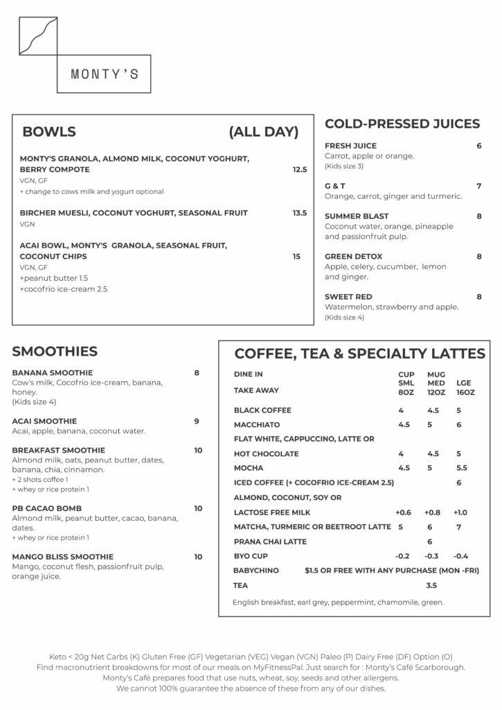 Monty A4 menu march 2020 1