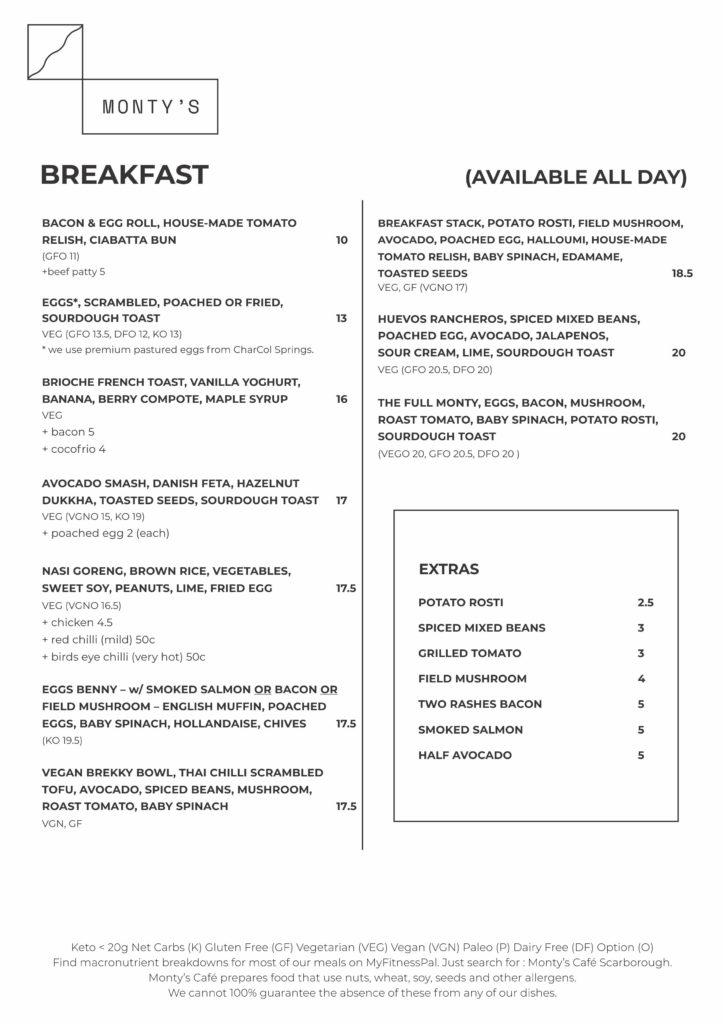 Monty A4 menu march 2020 2