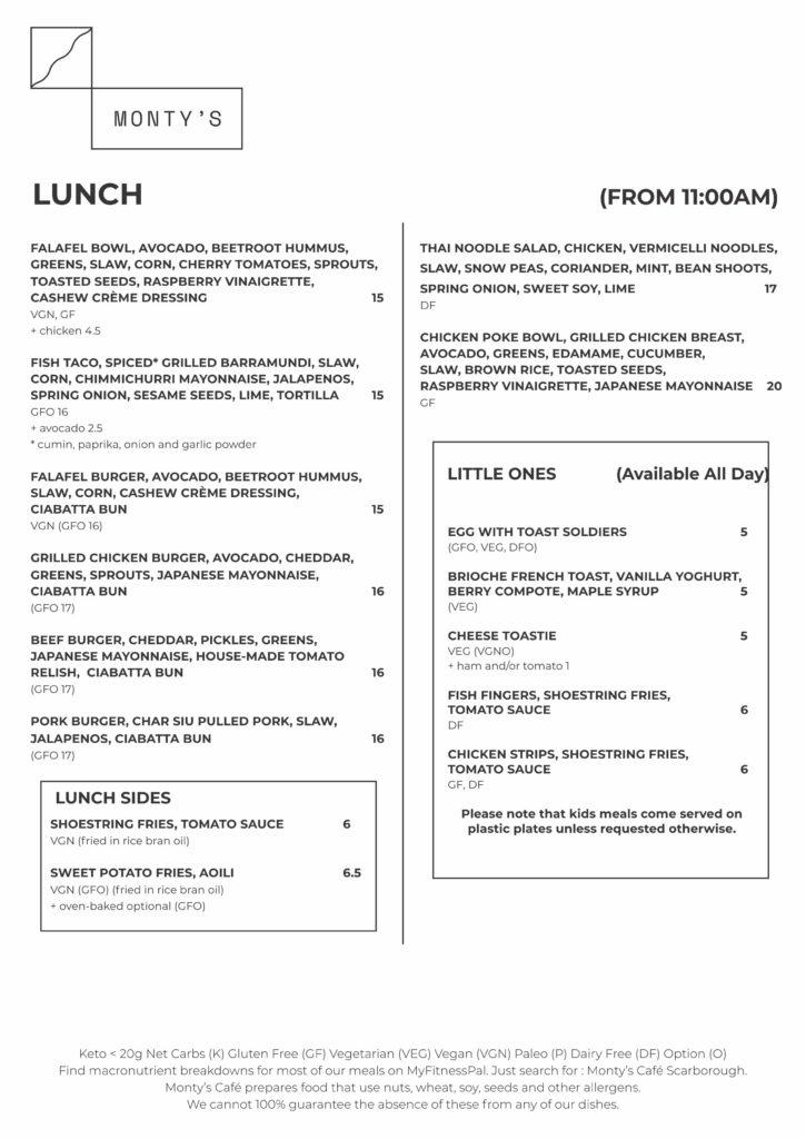 Monty A4 menu march 2020 3